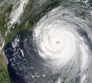 Satellite view of Hurricane Katrina