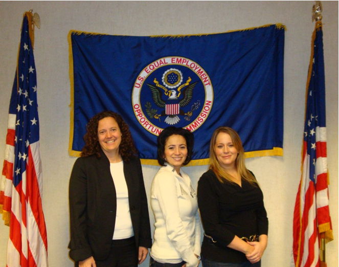 EEOC Trial Attorney Stephanie Struble and Class Members Rosalind Martinez and Mindy Byers
