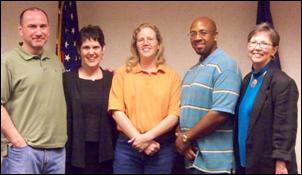 Left to right: D. Andrew Winston, EEOC Trial Attorney; Laurie Scott Paddock,<br> Private Counsel; Lisa Cornwell, Charging Party; Glenn Parker, EEOC Investigator;<br> Rita Byrnes Kittle, EEOC Supervisory Trial Attorney