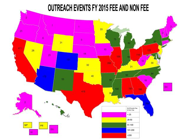 Outreach Events FY 2015, Fee and Non-Fee