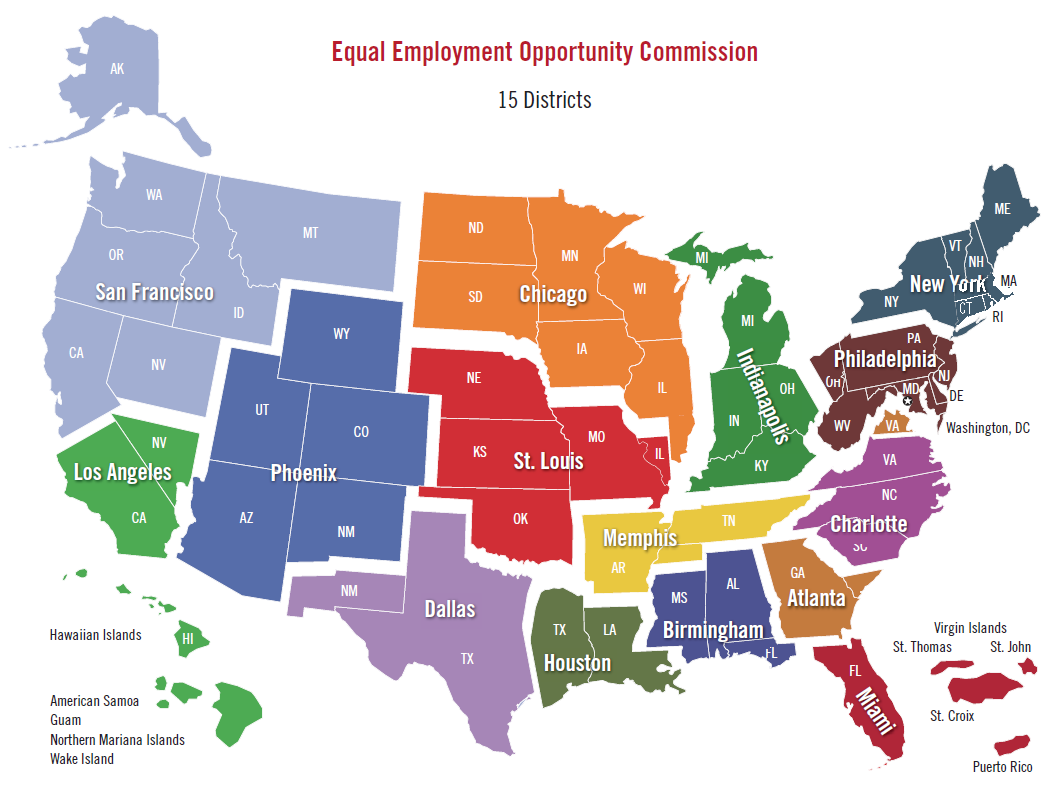 Map of EEOC Districts and Offices