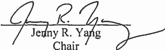 Signature: Chair Jenny R. Yang