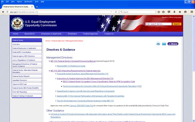 Screenshot of EEOC's Federal Sector Directives and Guidance web page